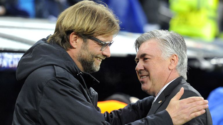 Jurgen Klopp (L) and Carlo Ancelotti (R) have a healthy respect for one another