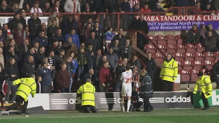 Paul Connolly: The Crawley defender appeared to clash with a Brentford fan in the Braemar Road stand.