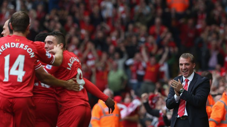 Rodgers applauds as his Liverpool players celebrate another Anfield goal