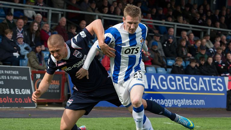 Erik Cikos: Challenges Michael Gardyne in the game at Victoria Park