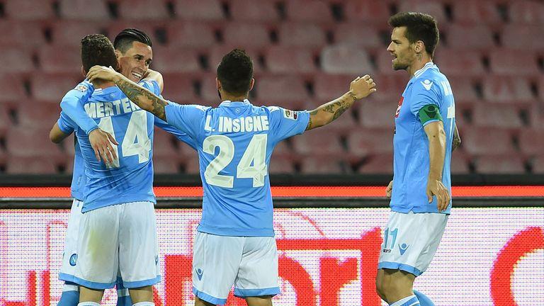 Jose Maria Callejon of Napoli celebrates