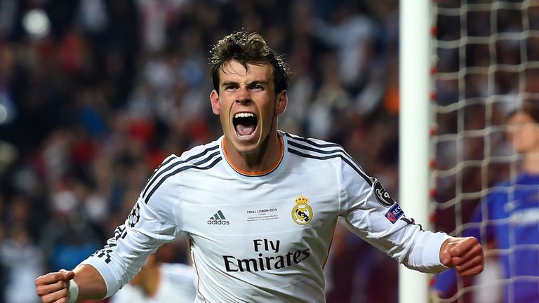 Gareth Bale celebrates after securing Real the lead over Atletico in the 2014 Champions League final