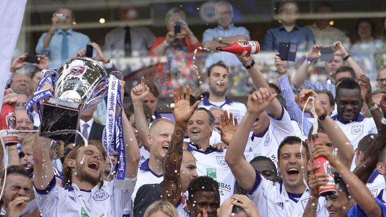 Guillaume Gillet: Celebrates Anderlecht's Belgian title success