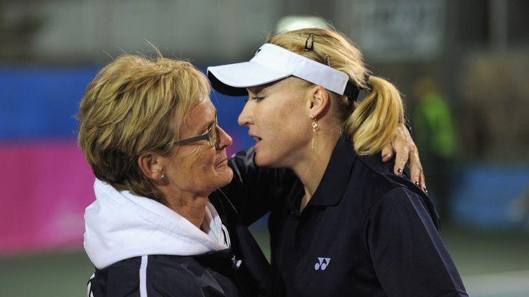Elena Baltacha with Fed Cup captain Judy Murray in 2012