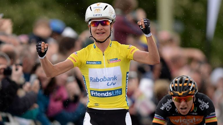 Vos won the inaugural women's Tour of Britain in front of huge roadside crowds