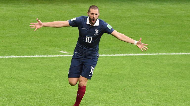 Karim Benzema: Celebrates goal in 3-0 win over Honduras