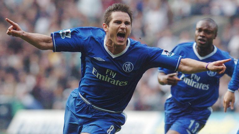 Frank Lampard celebrates Chelsea's first Premier League title, achieved against Bolton in 2005