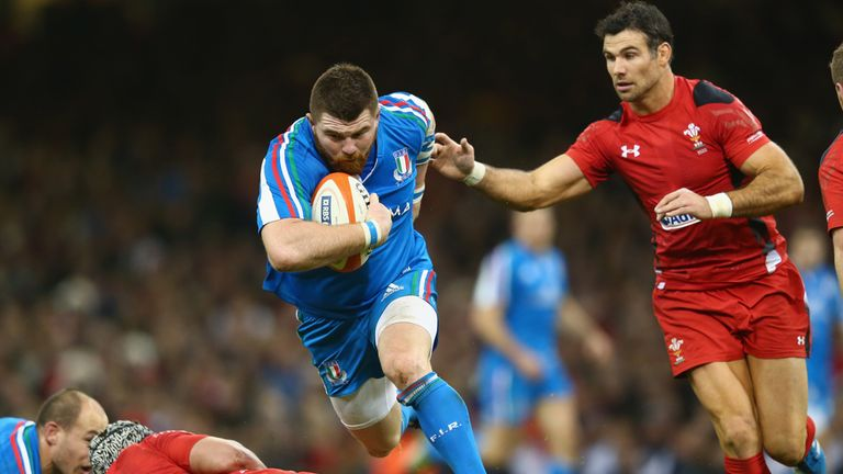 Michele Rizzo on the charge for Italy against Wales in the Six Nations