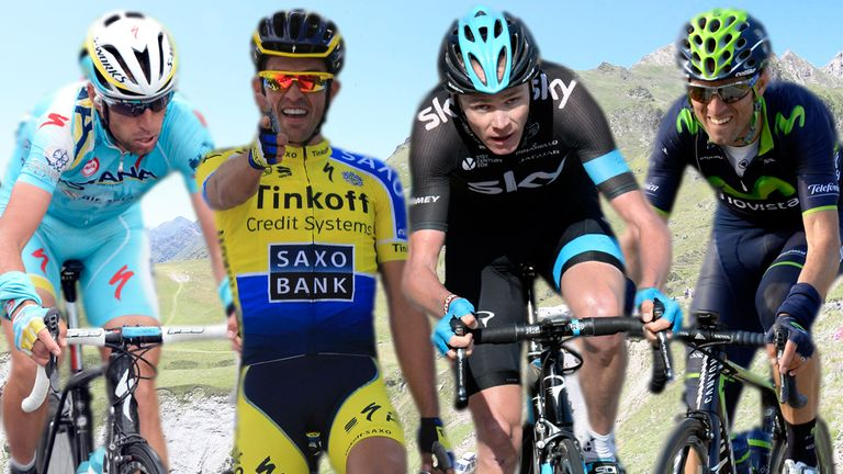 From left, Vincenzo Nibali, Alberto Contador, Chris Froome and Alejandro Valverde
