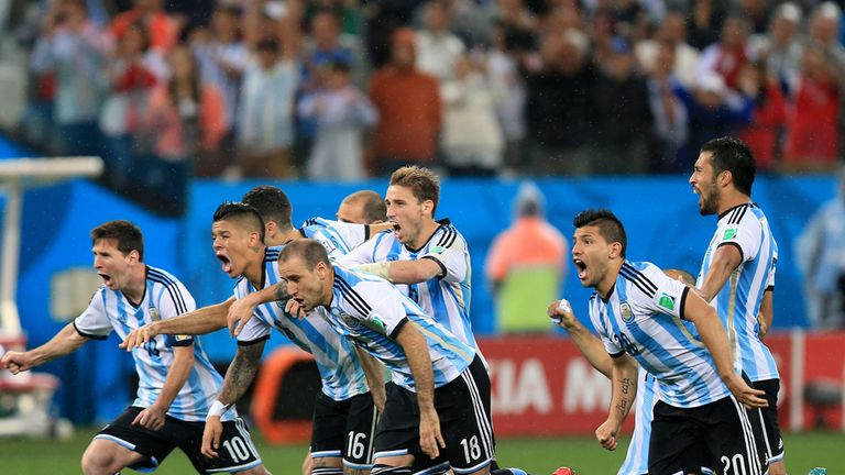 Argentina celebrate their semi-final victory after beating Netherlands on penalties