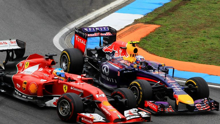 Fernando Alonso and Daniel Ricciardo went wheel-to-wheel at Hockenheim