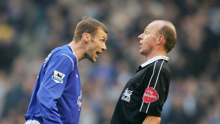 Former Everton forward Duncan Ferguson holds the Premier League record for red cards, along with Patrick Vieira and Richard Dunne