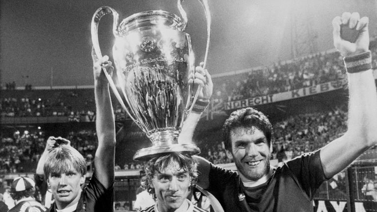 Gary Shaw, Tony Morley and Peter Withe proudly show off the European Cup to fans in 1982