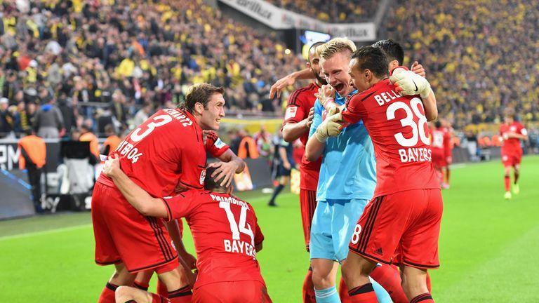 Bayer Leverkusen celebrate