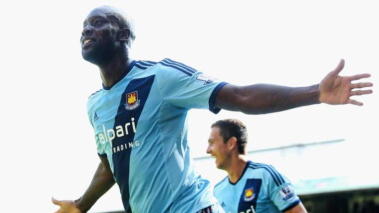 Carlton Cole celebrates scoring a goal for West Ham but was unable to replicate this feat in Indonesia