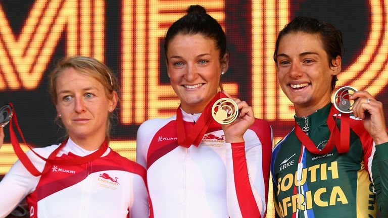 From left, Emma Pooley, Lizzie Armitstead and Ashleigh Moolman Pasio on the podium