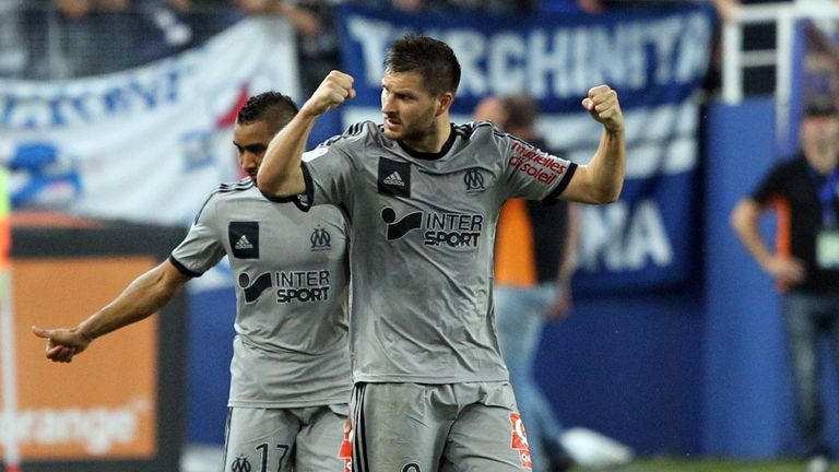 Andre-Pierre Gignac celebrates for Marseille