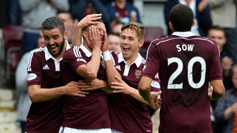Soufian El Hassnaoui (2nd left) celebrates a goal against Livingston in 2014