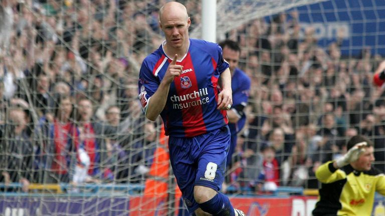 Andrew Johnson celebrates scoring for Palace at Selhurst Park in April 2006