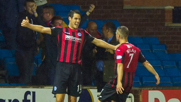 St Johnstone's Brian Graham (left) celebrates with Chris Millar after giving his side the lead over Kilmarnock.
