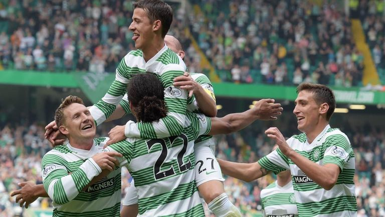 Celtic celebrate their opening goal against Aberdeen - scored by Jesan Denayer (22) in the seventh minute