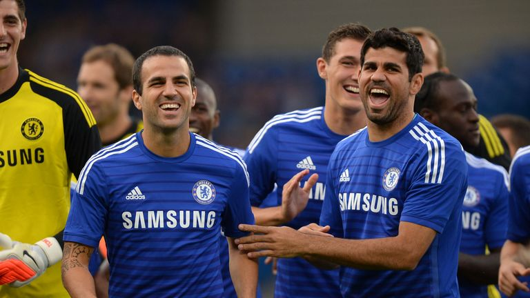 Chelsea new boys Cesc Fabregas and Diego Costa share a joke