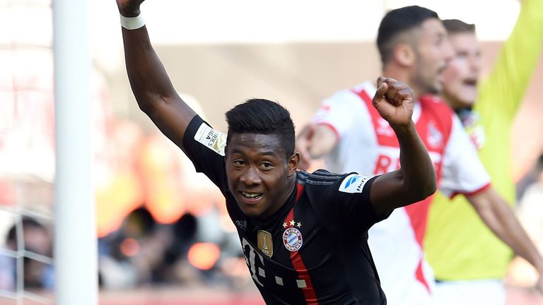 David Alaba celebrates as Bayern defeated Cologne