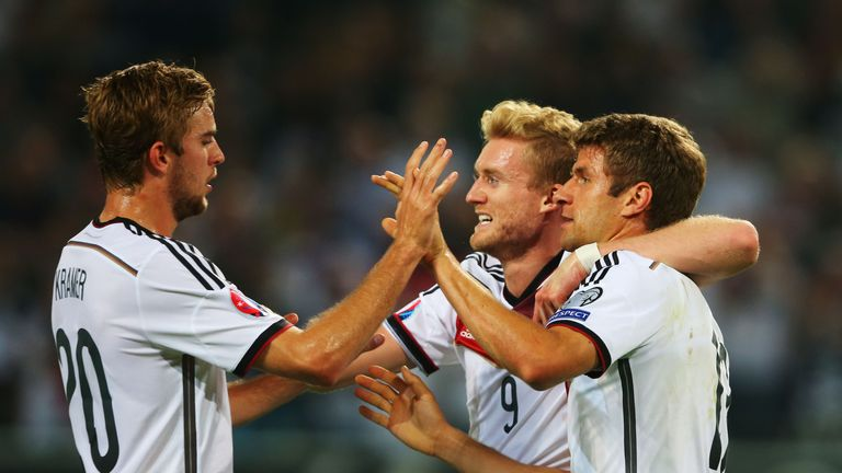 Thomas Muller: Celebrates after giving Germany the lead in their win over Scotland