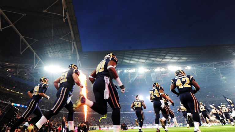 St. Louis Rams run out onto the Wembley field