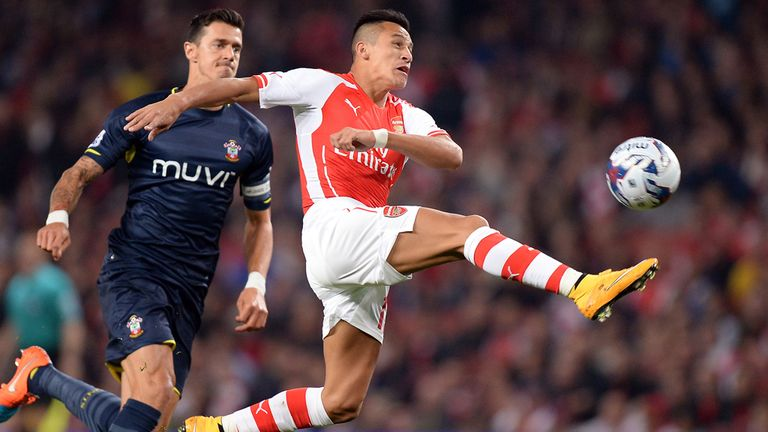 Sanchez (right) scored the winner in a 1-0 victory at home to  Southampton last December