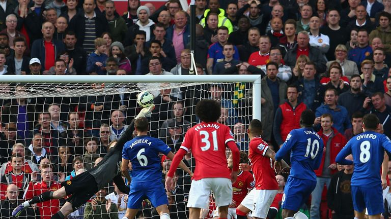 De Gea made an amazing save to deny Everton's Bryan Oviedo earlier this season