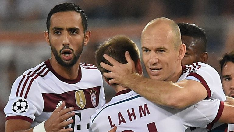 Arjen Robben: Congratulated after scoring for Bayern