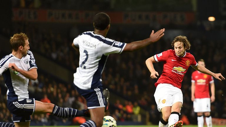 Manchester United's Daley Blind scores a late equaliser at the Hawthorns