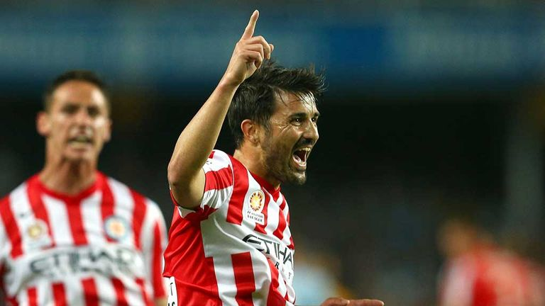 David Villa: Celebrates scoring for Melbourne City