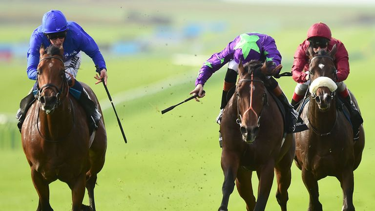 Charming Though (left) beats favourite Ivawood to land the 2014 Middle Park Stakes.