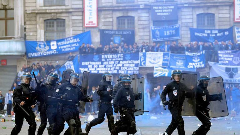 Riot police in the main square in Lille on Thursday