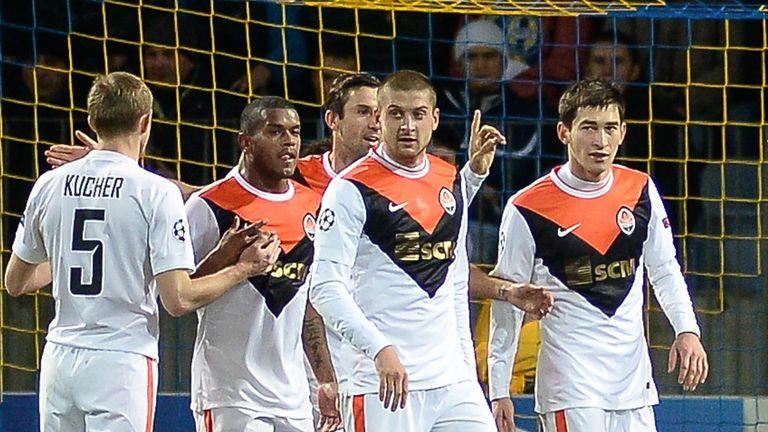 Shakhtar Donetsk's players celebrate after huge win at BATE Borisov
