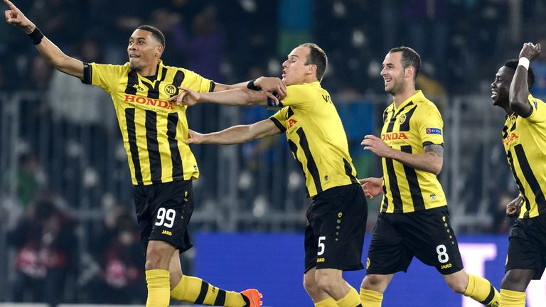 Guillaume Hoarau celebrates scoring for Young Boys