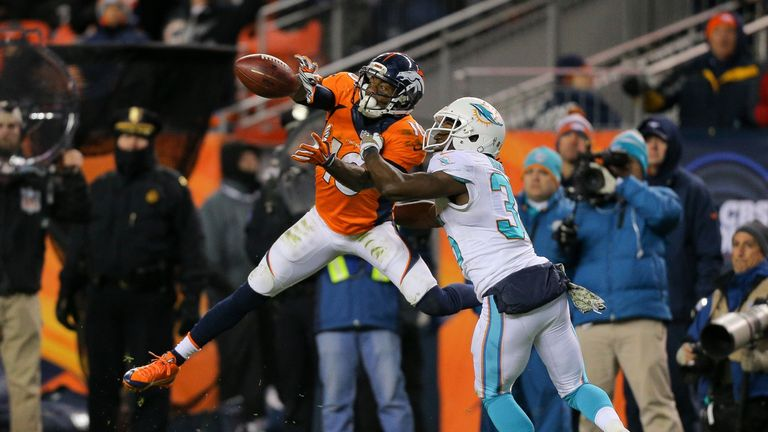02655459101 Emmanuel Sanders of the Denver Broncos against the Miami Dolphins