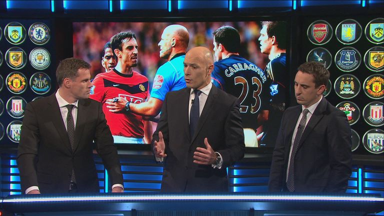 Howard Webb answered questions from Jamie Carragher and Gary Neville on MNF