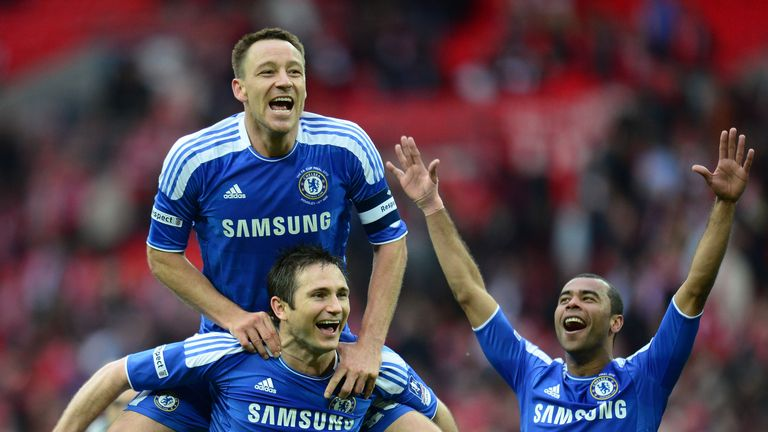 Terry, Lampard and Ashley Cole of Chelsea celebrate their FA Cup win 2012