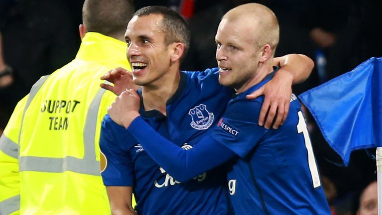 Osman celebrates scoring his side's first goal against Lille.