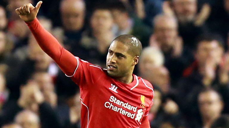 Glen Johnson: Celebrates his goal at Anfield