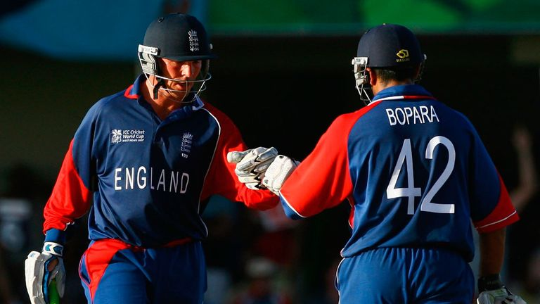 Paul Nixon and Ravi Bopara punch gloves during England's World Cup chase against Sri Lanka in 2007