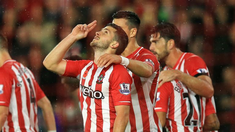 Shane Long: Celebrates after scoring for Southampton against Leicester