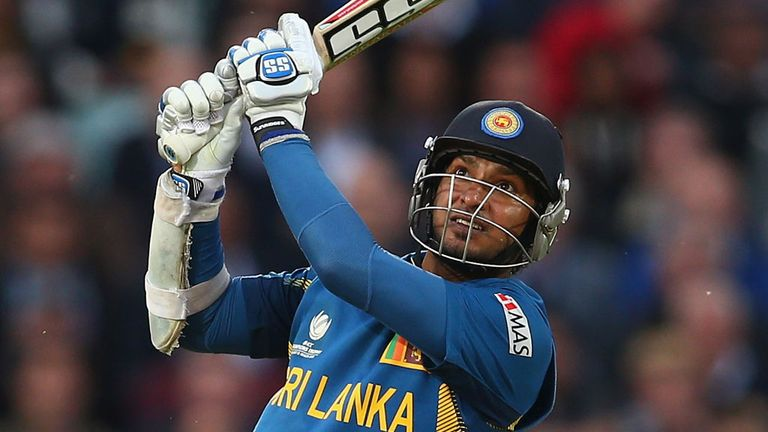 Kumar Sangakkara hits out on his way to a hundred against England in the 2013 Champions Trophy