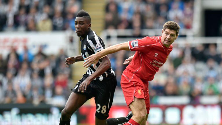 Ameobi and Gerrard: Tangle on Tyneside