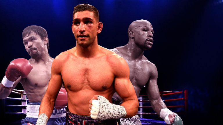 Amir Khan (centre) wants Pacquiao to fight Mayweather