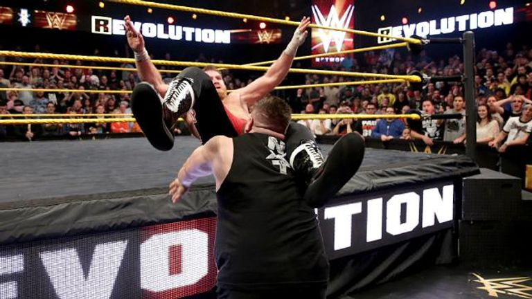 Kevin Owens cracked Sami Zayn with a powerbomb during the closing moments of Takeover: R Evolution