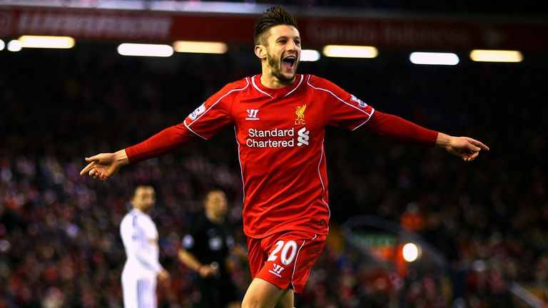 Adam Lallana: Celebrates his first goal at the Kop end